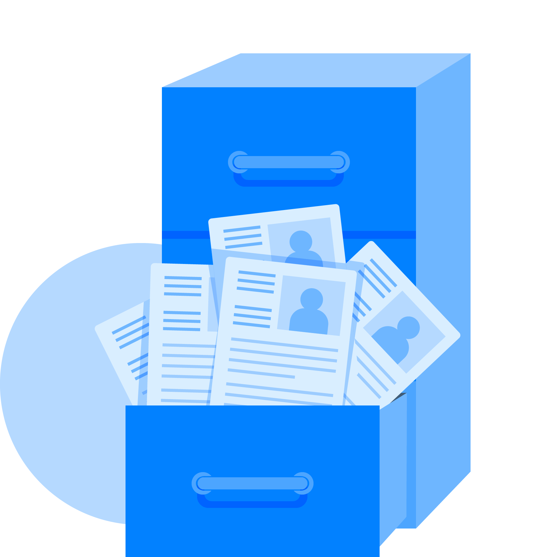 Open file cabinet with resumes and CVs popping out